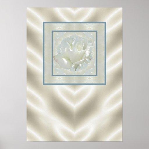 White Rose Satin Border Posters