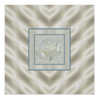White Rose Satin Border Print