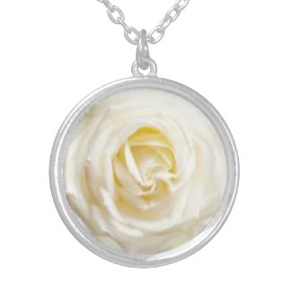 White Rose Silver Plated Necklace w/Charm