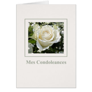 white rose sympathy card french
