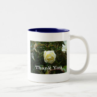 White Rose Thank You Two-Tone Mug