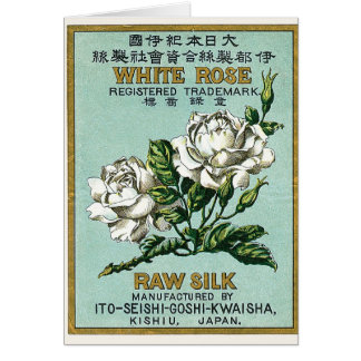 White Rose Vintage Japanese Silk Label Card