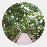White rose walkway classic round sticker