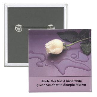 White Rose Wedding Bridal Shower Name Pins