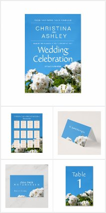 White rose wedding stationery