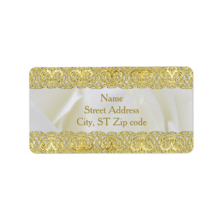White Rose with Gold Lace Wedding Address Label