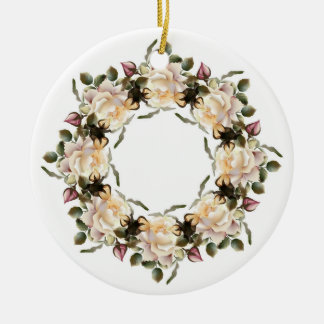 White Rose Wreath Ceramic Round Ornament