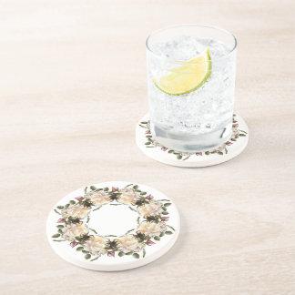 White Rose Wreath Sandstone Drink Coaster