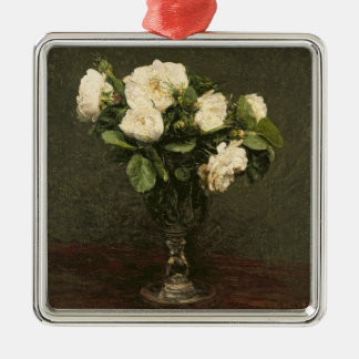 White Roses, 1875 (oil on canvas) Christmas Ornament