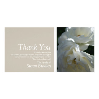 White Roses 3 Sympathy Thank You matching Stamp Photo Cards