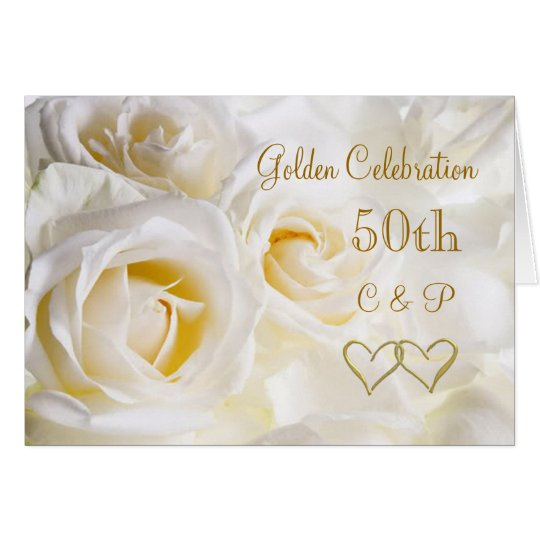 White roses 50th Wedding Anniversary Card