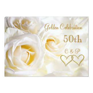 White roses 50th Wedding Anniversary Invitation