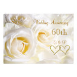 White roses 60th Wedding Anniversary Invitation Custom Announcements