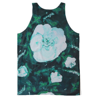 white roses All-Over print tank top