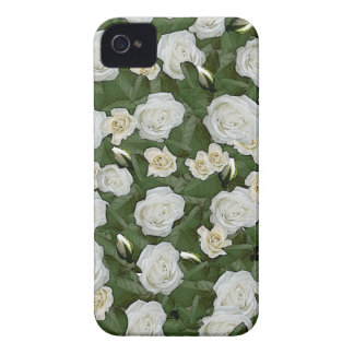 White roses and green leaves iPhone 4 Case-Mate cases