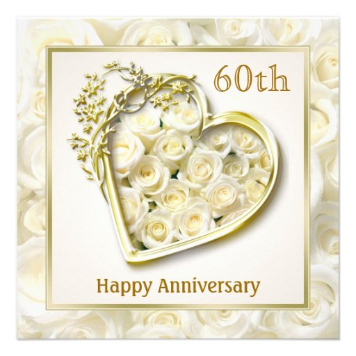 White Roses And Heart 60th Wedding Anniversary Square Paper