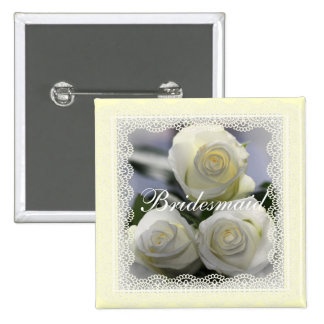 White Roses and lace Wedding badges