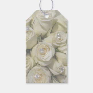white roses and pearls gift tag