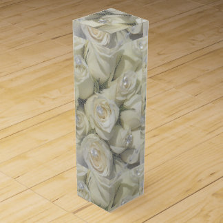 white roses and pearls wine box