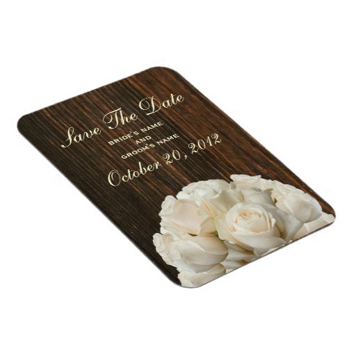 White Roses & Barnwood Save The Date Magnet