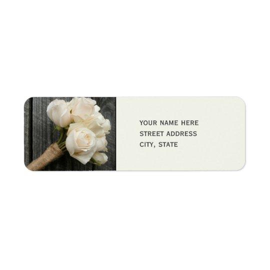 White Roses & Barnwood Wedding Address Label