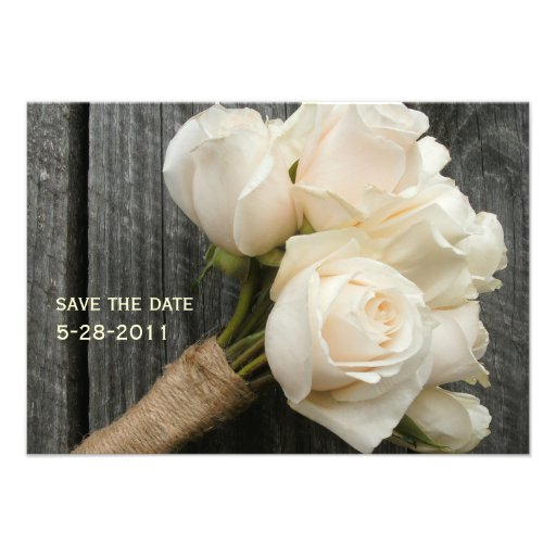 White Roses & Barnwood Wedding Save The Date Personalized Announcements