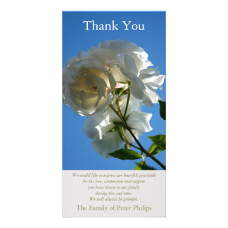 White Roses Blue Sky 1 Sympathy Thank You Card Personalised Photo Card