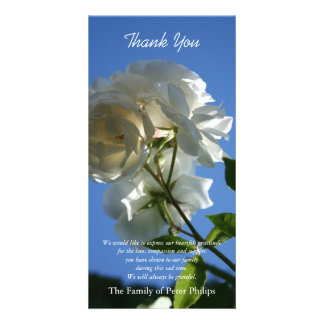 White Roses Blue Sky 2 Sympathy Thank You Card Photo Cards