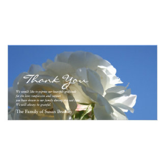 White Roses Blue Sky 3 Sympathy Thank You Card Customized Photo Card