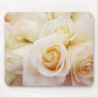 White Roses Bouquet Floral Bridal Pure Mousepad