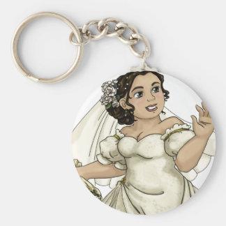 White Roses Bride Basic Round Button Key Ring