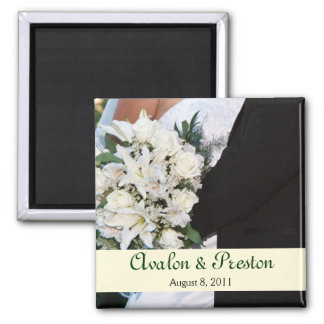 White Roses Bride & Groom Save The Date Magnet