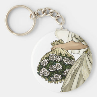 White Roses Bride Keychains