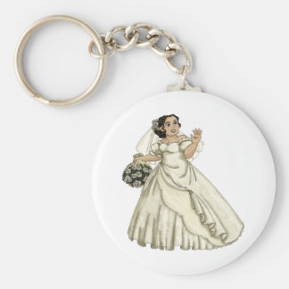 White Roses Bride Key Chains