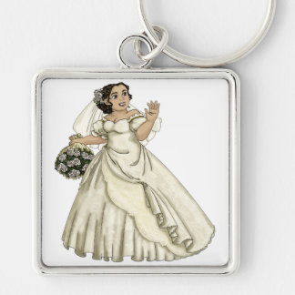 White Roses Bride Silver-Colored Square Key Ring