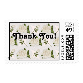 White Roses & Buds Postage Thank You Stamp