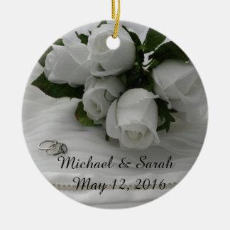 White roses christmas ornament