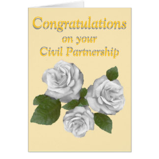 White Roses congratulations Civil Partnership Greeting Card
