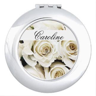 White Roses Custom Compact Mirror