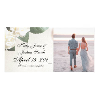 White Roses Engagement Announcement Cards Template Photo Card