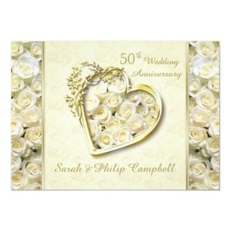 White roses, golden heart 50th Wedding Anniversary 13 Cm X 18 Cm Invitation Card