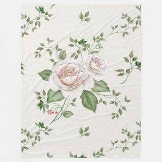 White Roses Green Leafs Fleece Blanket