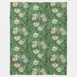 """White roses, green leaves"", beautiful flowers Fleece Blanket"