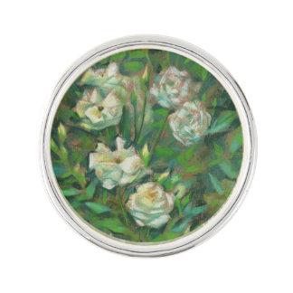 White roses, green leaves, nostalgic floral print lapel pin