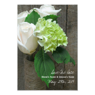 White Roses Hydrangea & Barnwood Save The Date 9 Cm X 13 Cm Invitation Card