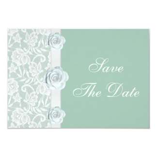 White Roses & Lace Mint Green Save the Date 3.5x5 Paper Invitation Card