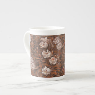 White roses, nostalgic floral pattern earth colors tea cup