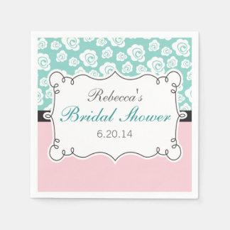 White Roses on Aqua & Pink Bridal Shower Paper Napkin