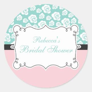 White Roses on Aqua & Pink Bridal Shower Round Sticker