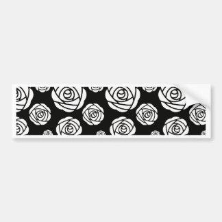 White Roses on Black Bumper Sticker